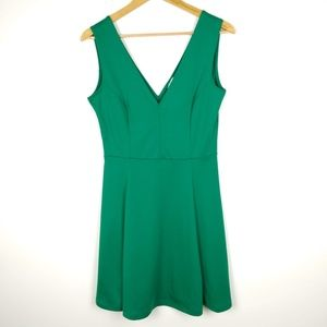 H&M Green Low V Cut Dress Front and Back